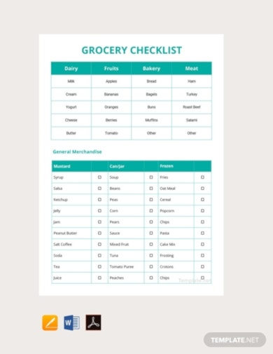 download grocery checklist template