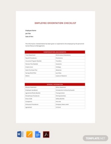 downloadable orientation checklist template