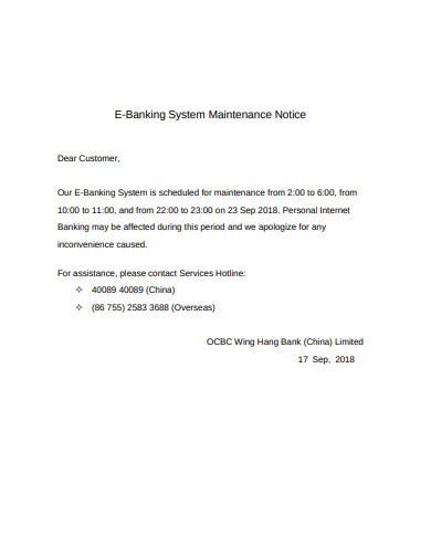 e banking maintenance system notice template