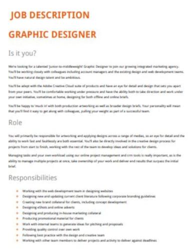 editable graphic designer job description template