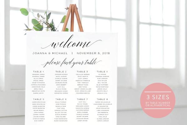 editable wedding seating chart template