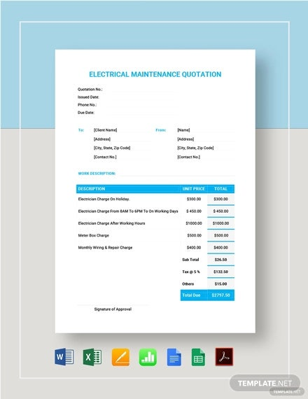 electrical maintenance quotation format template2