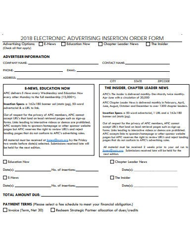 electronic advertising insertion order form