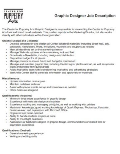 elegant graphic designer job description template