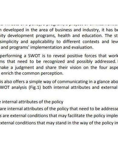 elegant swot analysis report layout