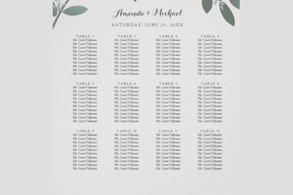 elegant wedding seating chart template