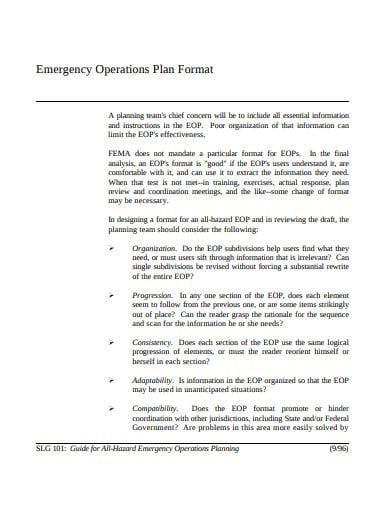 emergency operation plan format