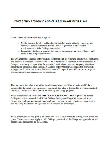 emergency response and crisis management plan