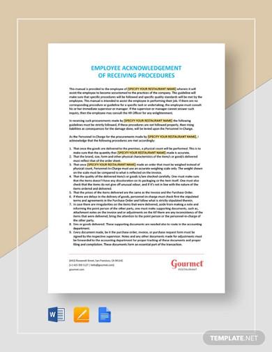 employee acknowledgement of receiving procedure letter