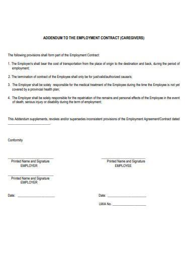 employee addedum contract template