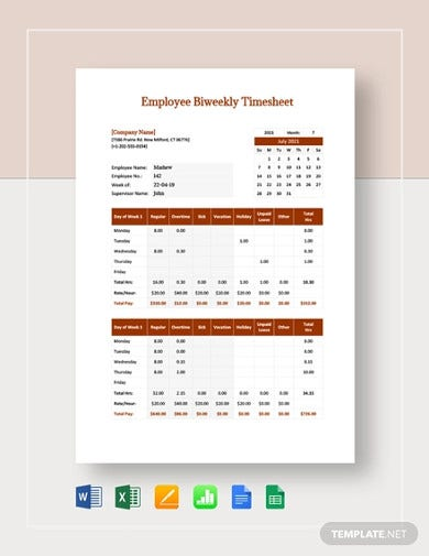 employee bi weekly timesheet templates