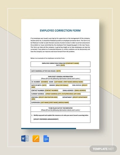 employee correction form template