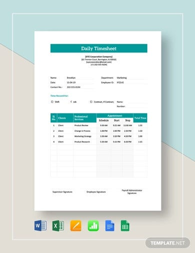 employee daily timesheet templates