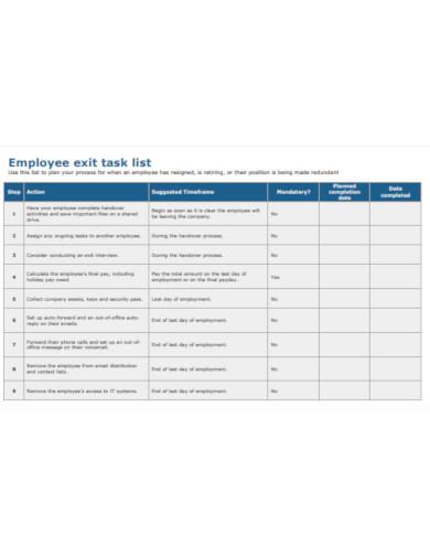 employee exit list example