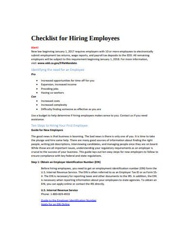 employee hiring checklist template