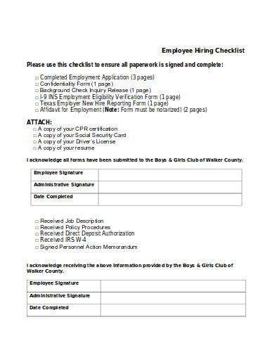 employee hiring checklist in pdf
