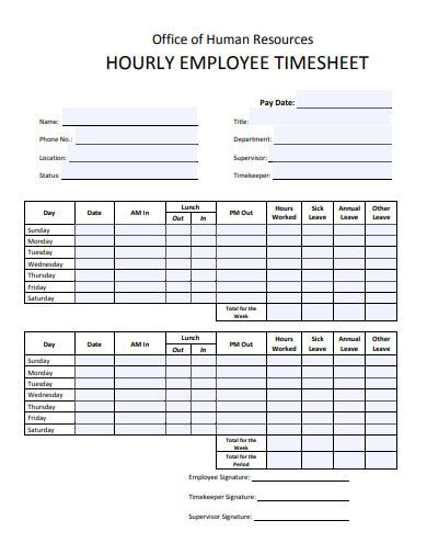 employee hourly sheet