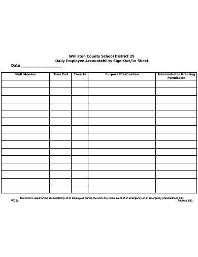 employee sign in sheet example