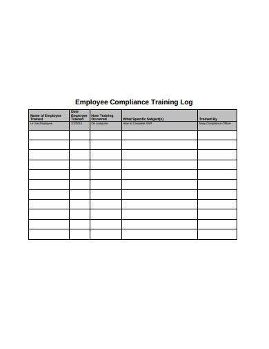 employee training log example