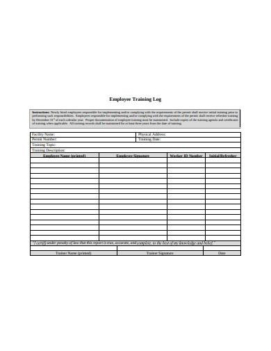 employee training log in pdf1