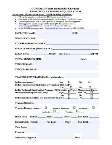 employee training request form example