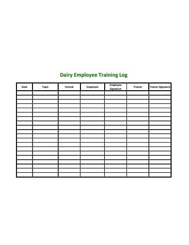 employee training log in pdf