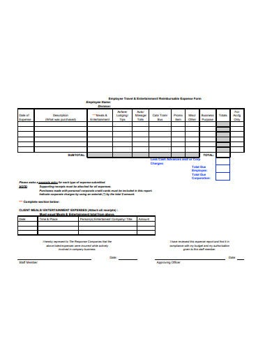 employee travel entertainment expense form