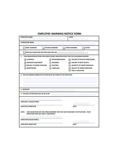 employee warning notice form in pdf