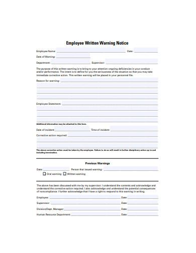 employee written warning notice template