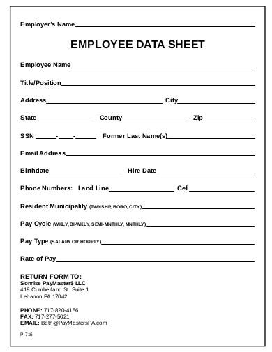 employeee data sheet template