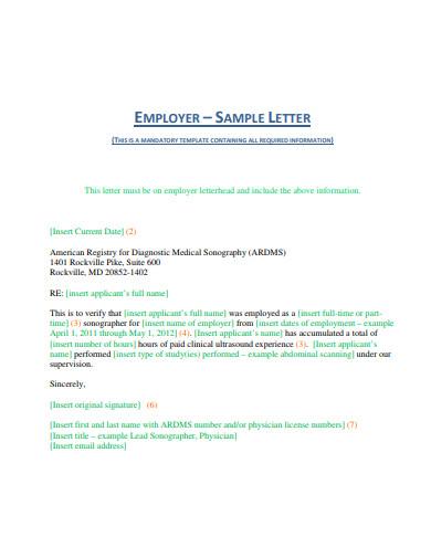 employer sample letter