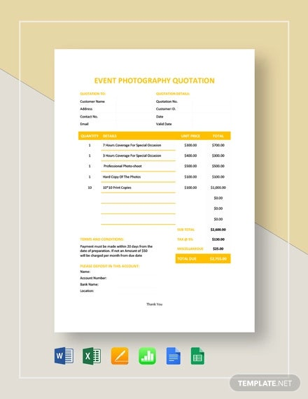 event photography quotation template