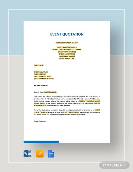 event quotation template