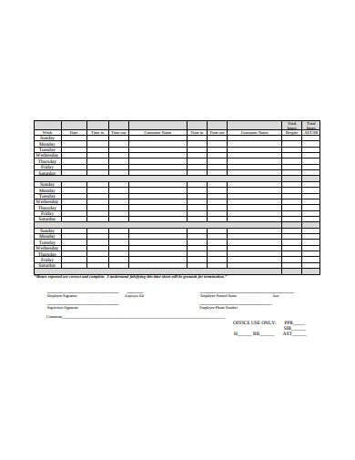 example employee sheet