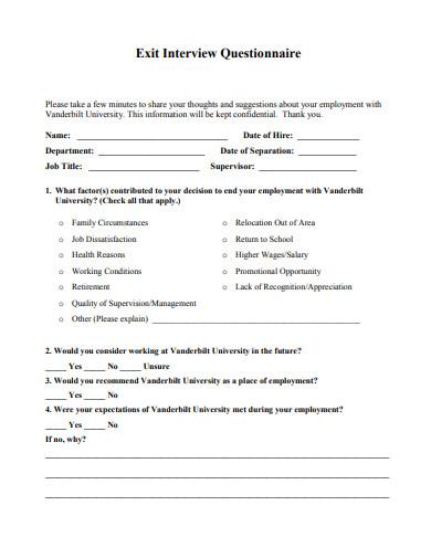 exit interview questionnaire