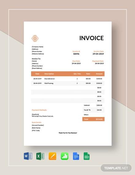 exterior design invoice template