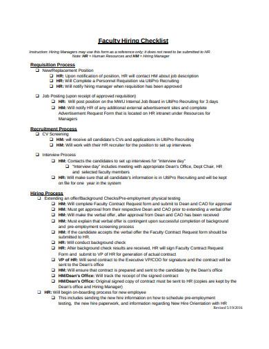 faculty hiring checklist example