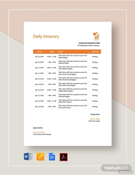 family daily itinerary