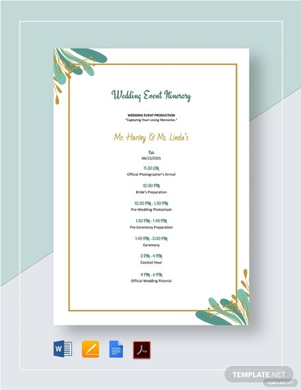 family wedding event itinerary