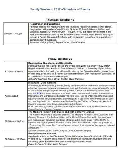 family weekend schedule example