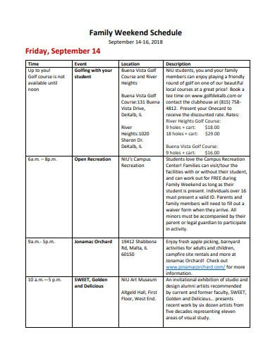 family weekend schedule template