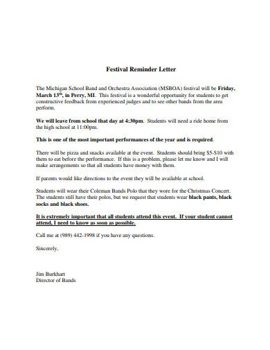 festival reminder letter template