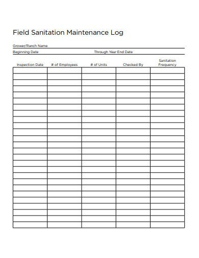field sanitation maintenance log template