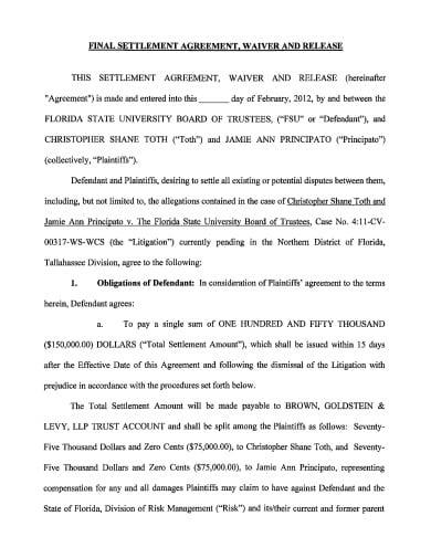 16 Settlement Agreement Templates Google Docs Word
