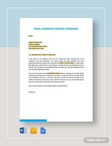 final warning before dismissal template