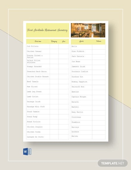 food stock take restaurant inventory template