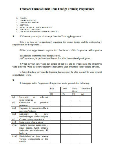 foreign training feedback form