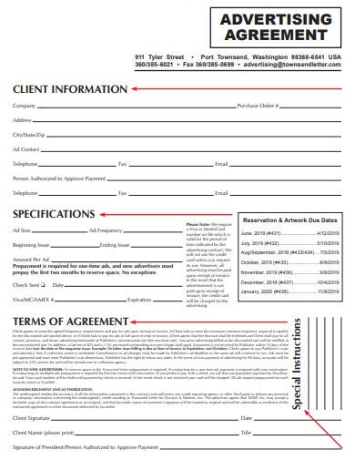 formal advertising agreement template
