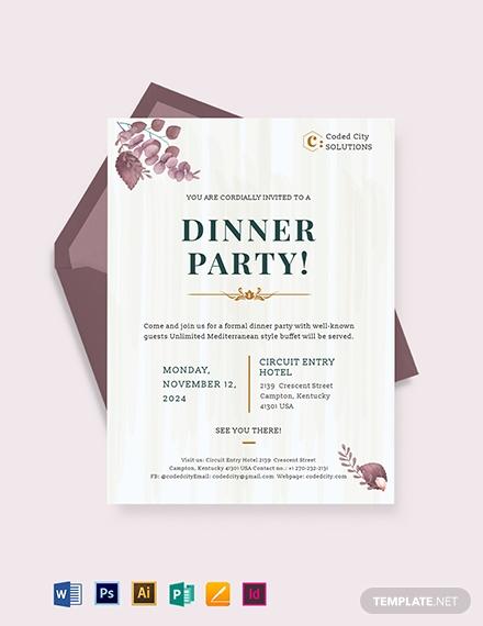 formal dinner invitation template 1