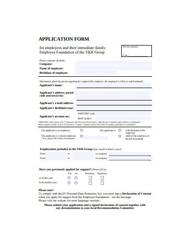 formal employee application form example